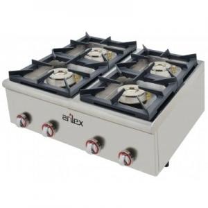 Cocina a gas serie PLUS fondo 75cm de 4 fuegos de Doble corona y llama piloto con potencia 2×7,5 + 2×4,5 Kw 80CG75PLUS