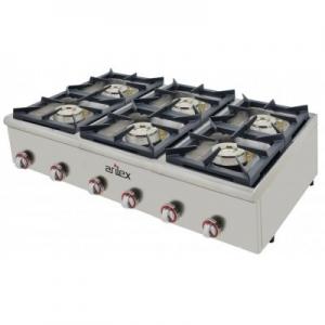 Cocina a gas serie PLUS fondo 75cm de 6 fuegos de Doble corona y llama piloto con potencia 3×7,5 + 3×4,5 Kw 120CG75PLUS